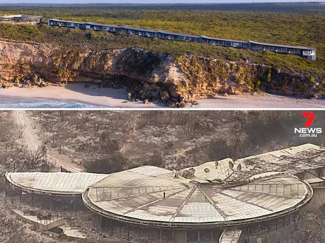 A composite of the Southern Ocean Lodge before and after bushfire destroyed it. The luxury holiday accommodation, on South Australia's Kangaroo Island, was gutted by fire on January 3. Picture: AAP/7 News