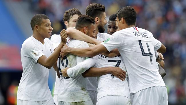 France's players celebrate.