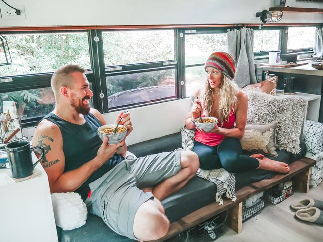 Michael and Tawny McVay traded it all in to live on a bus. Picture: MDWfeatures/Tawny McVay