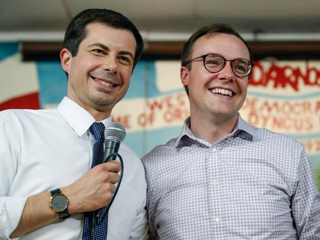 South Bend Mayor and Democratic presidential candidate Pete Buttigieg (left) with his husband Chasten Glezman. Picture: AFP