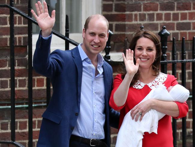 William and Kate leave hospital after the birth of Louis. Picture: AFP