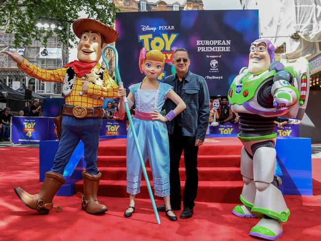Woody, Bo Peep, Tom Hanks and Buzz Lightyear attend the European premiere of Disney and Pixar's Toy Story 4. Picture: Gareth Cattermole/Getty Images for Disney and Pixar.