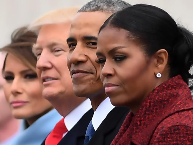 L-R: First Lady Melania Trump, President Donald Trump, former President Barack Obama, Michelle Obama at the US Capitol after inauguration ceremonies. Picture: AFP