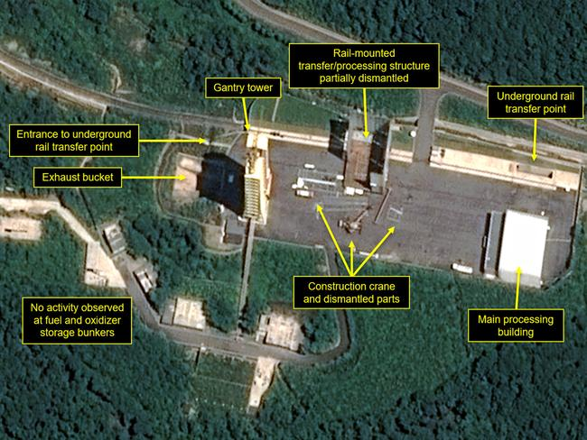 This satellite image released and annotated shows what was said to be the partial dismantling of North Korea's nuclear facilities. Picture: AP