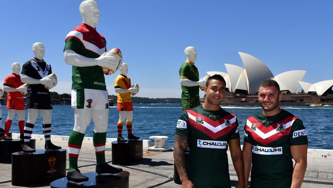 Lebanon's Robbie Farah (R) and Michael Lichaa pose for photos at the League of Giants installation in Sydney.