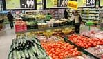 EGXJ69 MEPPEN, GERMANY - FEBRUARY 2015: Fruits and vegetables on the fresh department of a Kaufland hypermarket.
