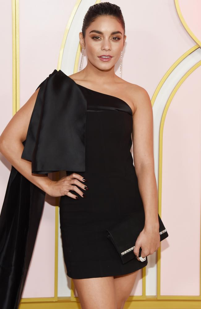 Vanessa Hudgens rocking this daring black mini. Picture: Amanda Edwards/Getty Images