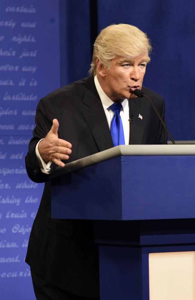 Alec Baldwin portraying Donald Trump during a sketch on Saturday Night Live.