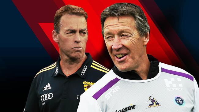 Craig Bellamy of the Storm (right) and Alastair Clarkson of Hawthorn.