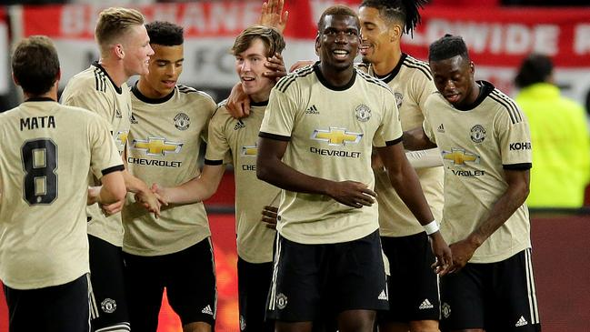 Manchester United youngster James Garner (fourth left) drilled home a long range strike for his side's second goal. Picture: Getty Images