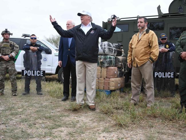 US President Donald Trump speaks after he received a briefing on border security in Texas on Thursday as part of his all-out offensive to build a wall. Picture: AFP