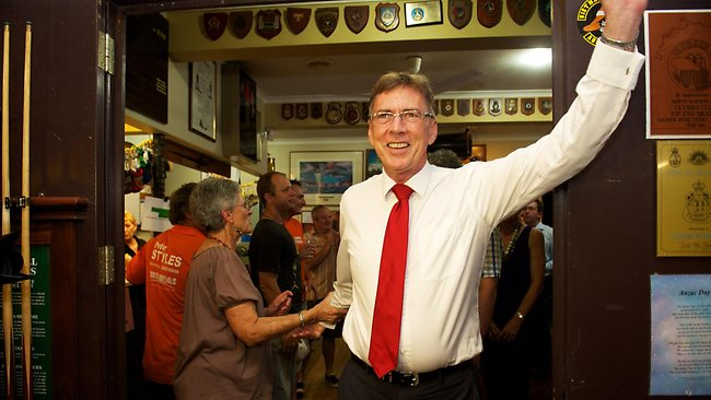 Terry Mills celebrating after the success of the Country Liberal Party. Picture: Michael Franchi