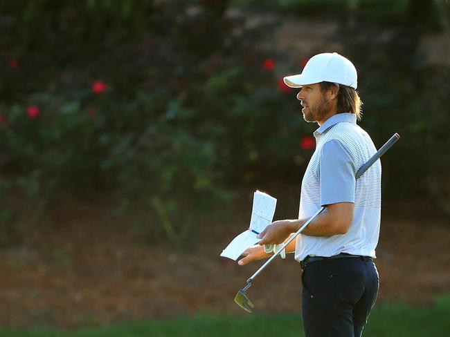 Aaron Baddeley picked up birdies at the par-5 second before two more at the fourth and fifth holes to sit two under. Picture: Sam Greenwood/Getty Images