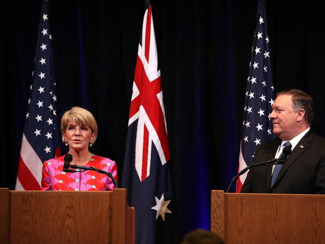 Australian Foreign Affairs Minister Julie Bishop with US Secretary of State Mike Pompeo after the Australia-US Ministerial Consultations (AUSMIN) talks this week. Picture: Justin Sullivan/Getty Images/AFP.