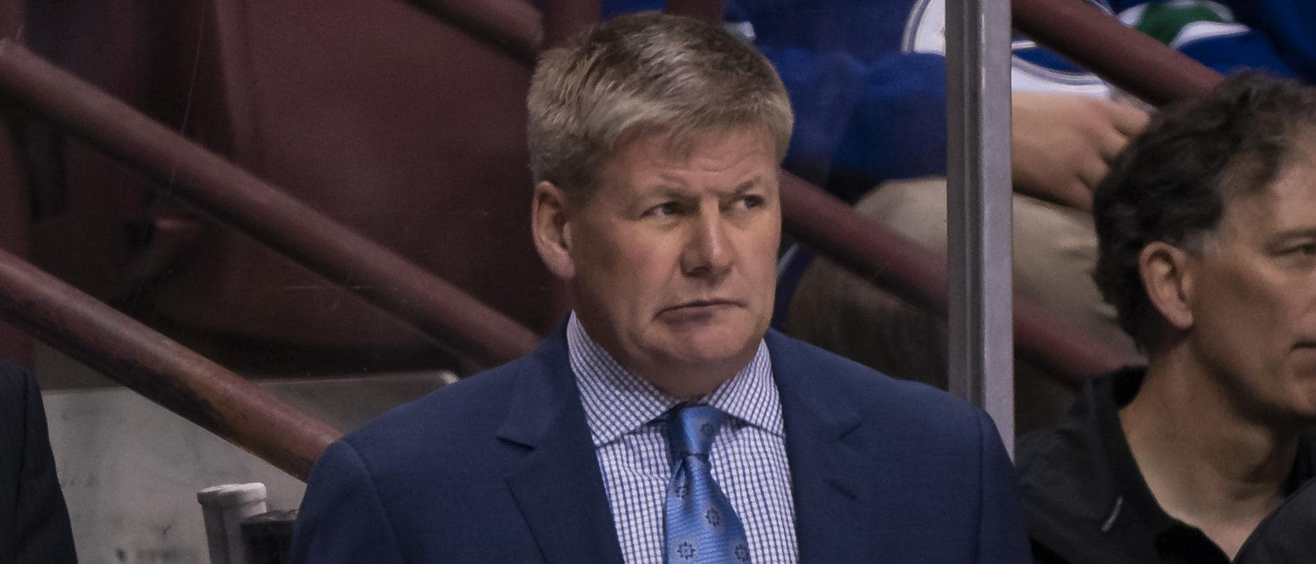 (FILES) In this file photo taken on October 3, 2018 Head Coach Bill Peters is seen during NHL action against the Vancouver Canucks in the NHL  at Rogers Arena in Vancouver, British Columbia, Canada. - Calgary Flames coach Bill Peters is under investigation after being accused of using racial slurs against Nigerian-born player Akim Aliu a decade ago, the National Hockey League confirmed on November 26, 2019. The NHL said in a statement Peters was being probed after Aliu said he was subjected to racist language during the 2009-2010 season while playing for American Hockey League (AHL) side Rockford IceHogs. (Photo by Rich Lam / GETTY IMAGES NORTH AMERICA / AFP)