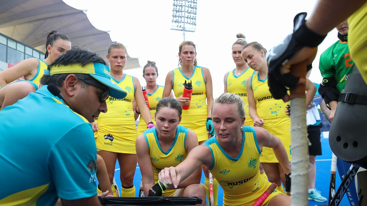 Former head coach Paul Gaudoin addresses his players during the FIH Field Hockey Pro League match against China on June 2, 2019 in Changzhou, China.