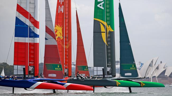 France, China and Japan preparing for Sail GP on Sydney Harbour. Pic: Toby Zerna