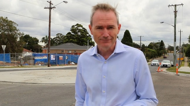 David Coleman celebrating a new roundabout in Peakhurst in his electorate of Banks.