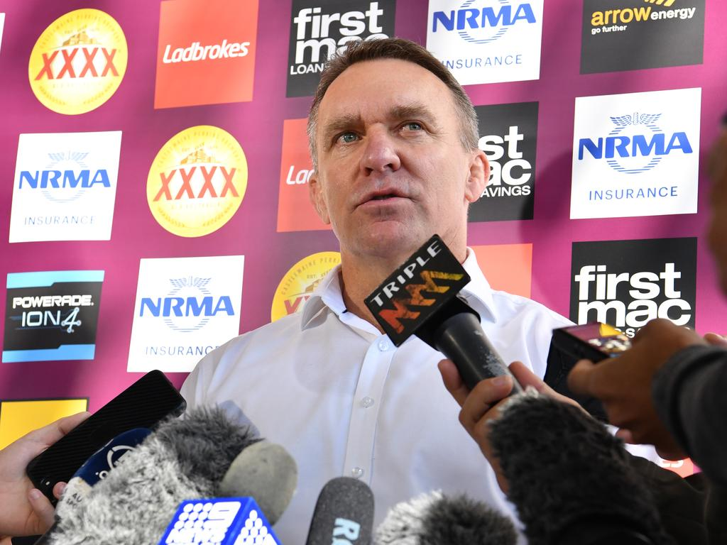 Brisbane Broncos CEO Paul White is seen during a media conference at Clive Berghofer Field in Brisbane, Friday, August 17, 2018. Mr White confirmed to the media that current Broncos coach Wayne Bennett will still be the head coach in 2019. (AAP Image/Darren England) NO ARCHIVING