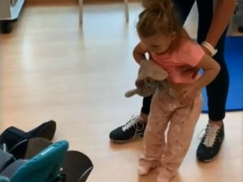 Hayley has to learn to walk again. Picture: Nine News