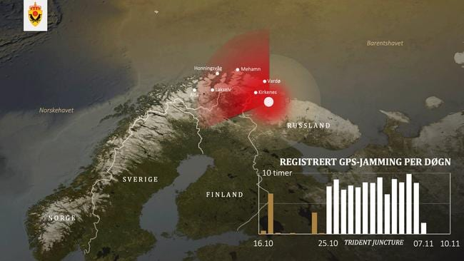 A map provided by Norway's intelligence service showing the source and intensity of GPS jamming signals. Picture: Norway Defence Ministry