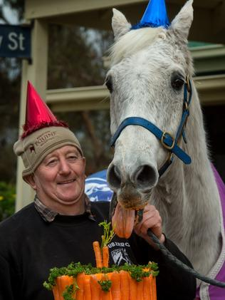 Graham Salisbury and Subzero celebrate a birthday. Picture Jay Town.