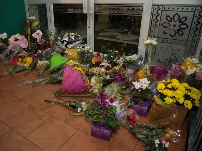 Flowers and tributes placed at a mosque for the victims of the attack. Picture: AFP