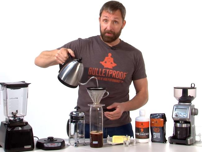 Dave Asprey making the Bulletproof coffee on his YouTube tutorial. Picture: YouTube.