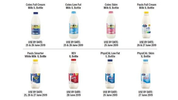 The Coles and Pauls milk products that are being recalled.