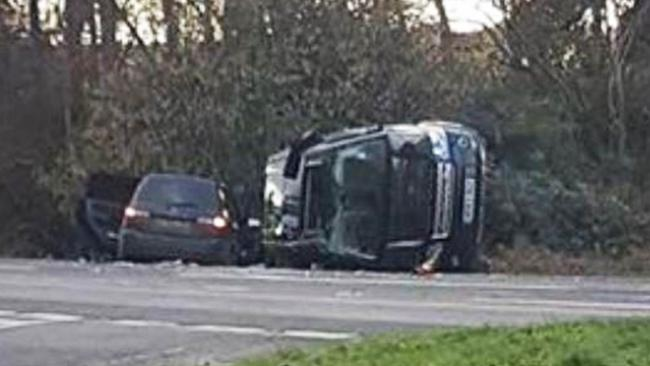 The Prince's Land Rover (right) was left on its side following the crash. Picture: Tia Greenstreet/KLFM