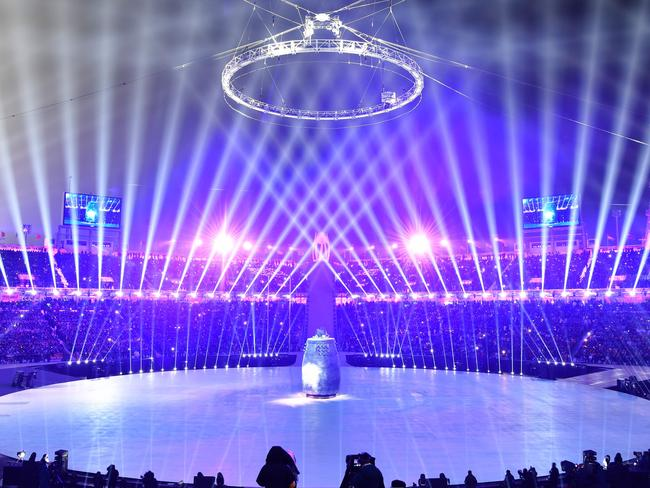 Lights fill the stadium at the beginning of the Opening Ceremony. Picture: AFP/ Jonathan Nackstrand