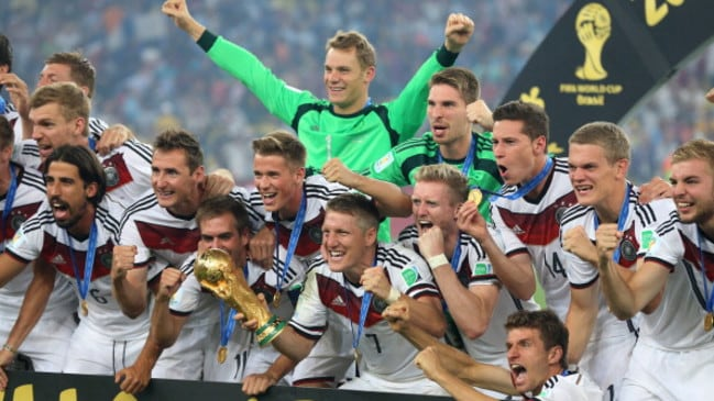Germany celebrate the 2014 FIFA World Cup win.