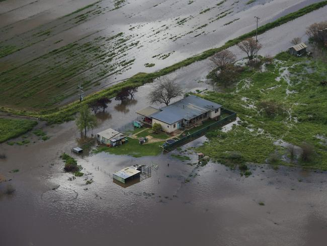 An aerial view of Forbes as flood waters start to rise on the town. Picture: Dylan Robinson