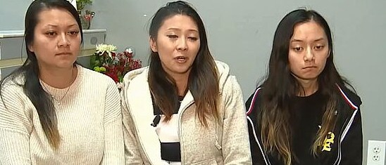 Ms Nguyen's distraught daughters speak to media in the wake of their mother's hit and run murder. Picture: Supplied