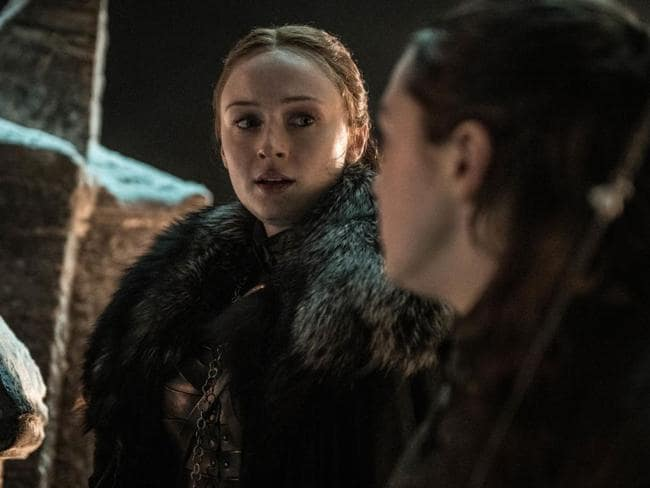 Sansa Stark (Sophie Turner) and Arya (Maisie Williams) in episode 3 of the final season of Game of Thrones. Picture: HBO