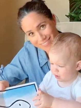 Meghan and Harry gave fans a rare glimpse of their son Archie on his first birthday, sharing a video of mum reading him a story. Picture: Instagram