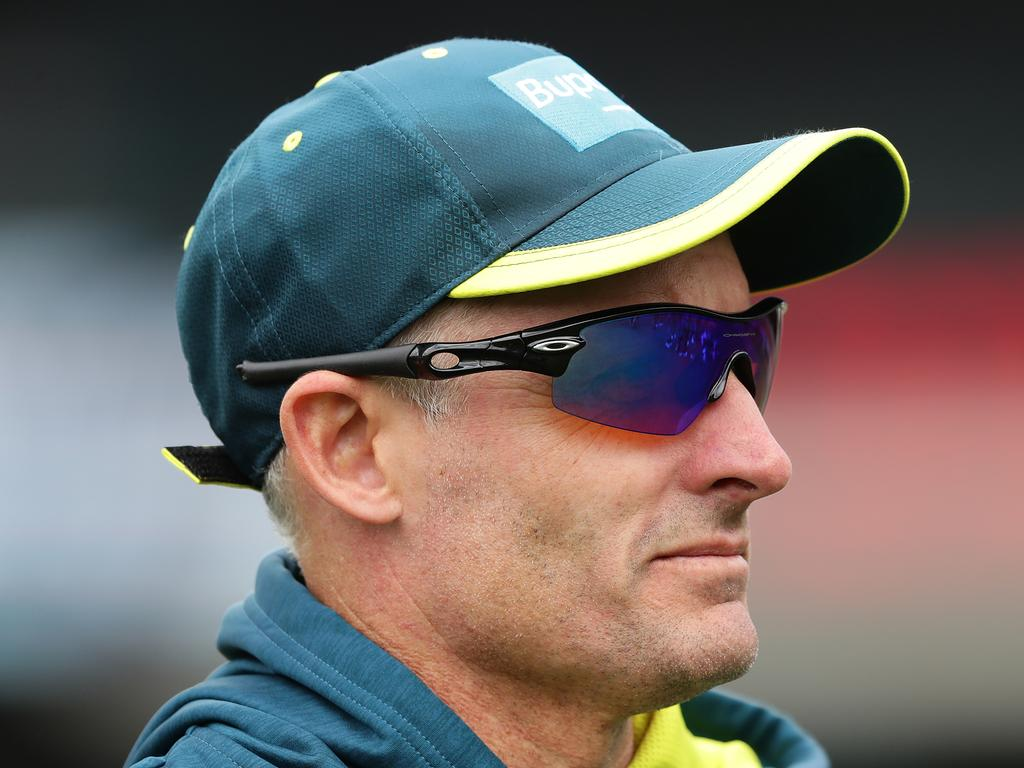 ADELAIDE, AUSTRALIA - OCTOBER 27: Australian coach Mike Hussey looks on before the Twenty20 International match between Australia and Sri Lanka at Adelaide Oval on October 27, 2019 in Adelaide, Australia. (Photo by Mark Metcalfe/Getty Images)