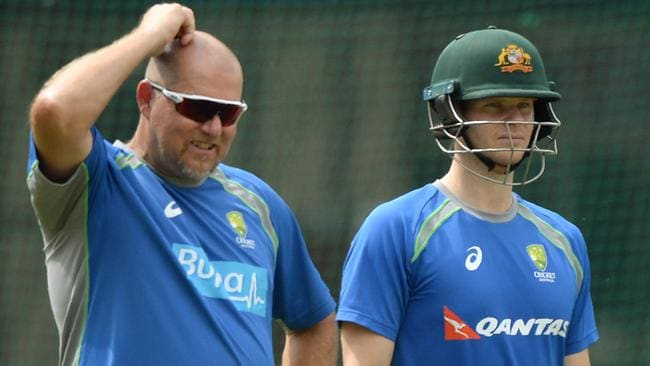 Aussie assistant coach David Saker and Steve Smith.
