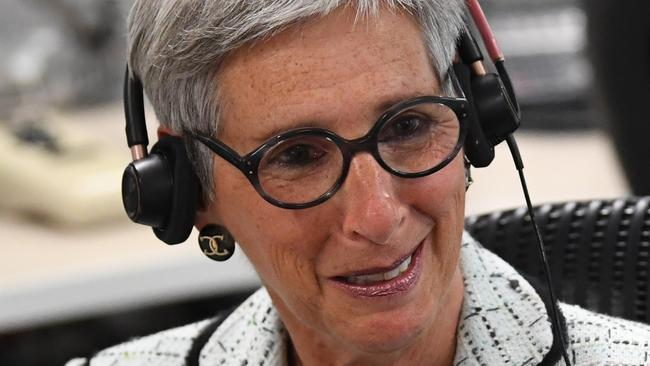 The Governor of Victoria, Linda Dessau, visiting an emergency communications centre in Melbourne. Picture: Julian Smith