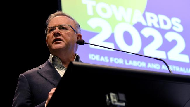 "Australian Opposition Leader Anthony Albanese spoke during the ""Towards 2022: Ideas for Labor and Australia"" conference at NSW Teachers Federation in Sydney, Saturday, December 7, 2019. Picture: AAP/Bianca De Marchi."
