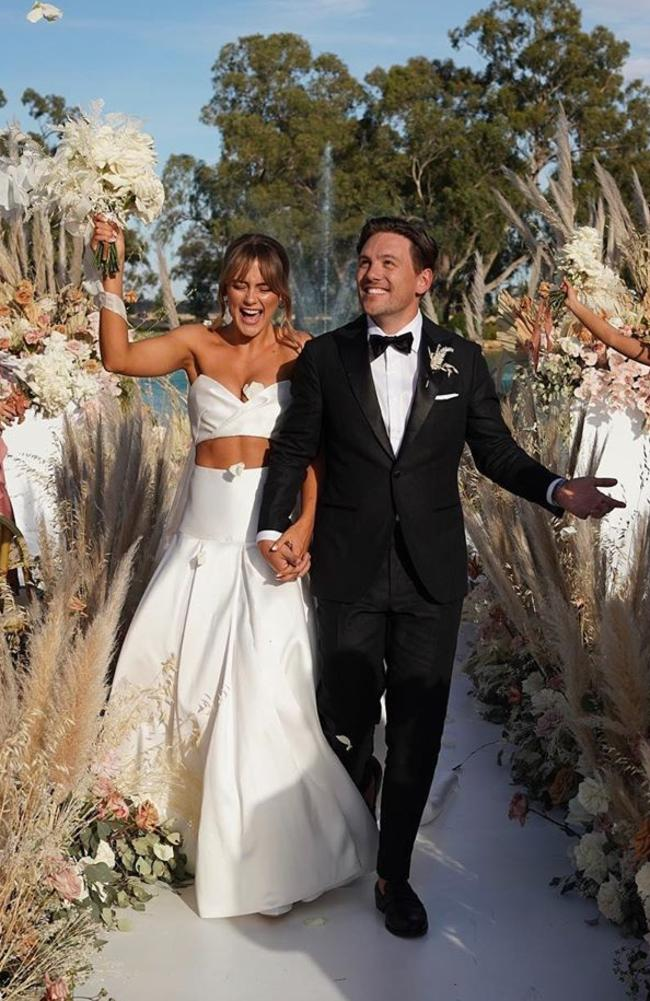 The mega Australian fitness influencer stunned in her less-than traditional wedding dress. Picture: Instagram / Steph Claire Smith