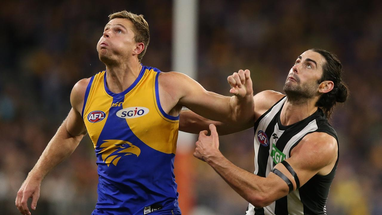 Brodie Grundy smashed Nathan Vardy and Scott Lycett. Photo: Paul Kane/Getty Images.