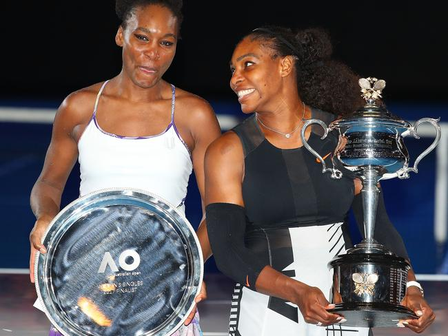 Serena Williams poses with sister Venus Williams after the Australian Open. Picture: Getty