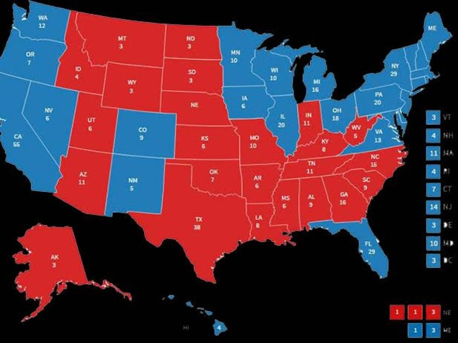The electoral college map following Barack Obama's win in 2012. Picture: Screengrab/Fox News