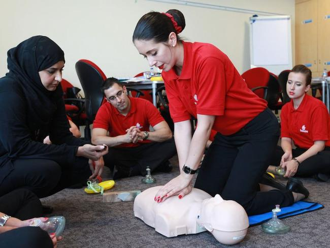 Emirates cabin crew and pilots completed about 23,000 hours of medical training in 2016. Picture: Emirates