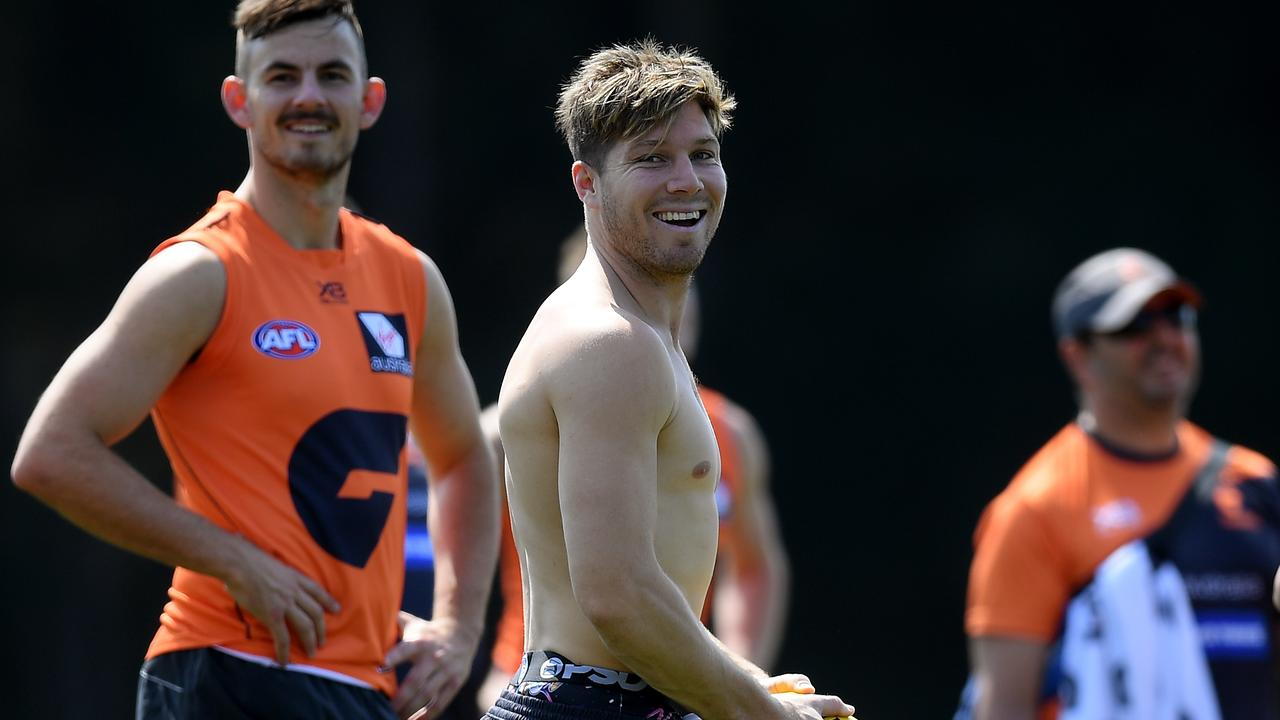 Toby Greene at GWS training on Thursday. Photo: Dan Himbrechts/AAP Image.