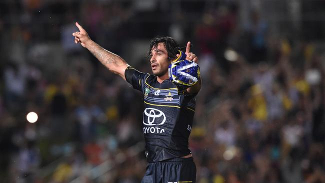 Johnathan Thurston salutes the crowd after his Cowboys beat the Broncos in a 2016 semi-final thriller