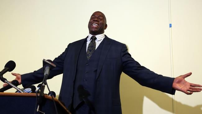 "Earvin ""Magic"" Johnson at a press conference this year."