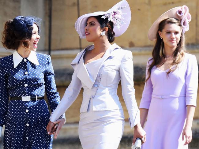 Chopra, middle, was one of the guests at the Royal Wedding. Photo: AFP/Pool/Chris Jackson