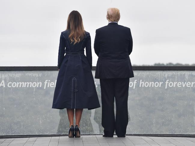 US President Donald Trump and First Lady Melania Trump arrive at the site of a new memorial where Flight 93 crashed during the September 11 attacks. Picture: AFP